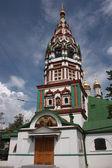 The bell tower of St. Nicholas Church in Khamovniki. Russia, Moscow. — Stock Photo