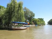 Excursion boats on the river Kamchiya. Bulgaria. — Stock Photo