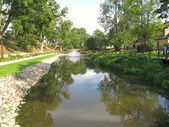 Pond with fountain Kuldīga. Latvia — Stock Photo