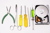 Special tools for hard disk repair — Stock Photo