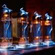 Set of glowing vacuum electron tubes — Stock Photo