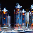 Glowing vacuum electron tubes — Stock Photo