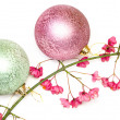 Christmas balls and branch of bush — Stock Photo