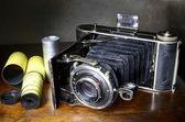 Miechy starodawny aparat i oryginalnego filmu — Zdjęcie stockowe