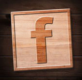 Facebook wooden icon — Foto Stock