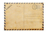 Old blank post card white background — Stock Photo