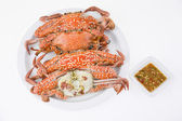Steamed crabs with seafood sauce — Stock Photo
