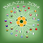 ワールド カップ 2014年にサッカー チームの旗 — ストックベクタ
