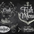 Set collection of seafood and fish menu — Vecteur #29786649
