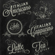 Names of coffee drinks — Stockvectorbeeld