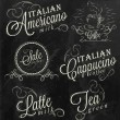 Names of coffee drinks — Imagen vectorial