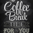 Poster lettering the coffee break time — Stockvectorbeeld