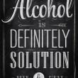Poster joke Alcohol is definitely solution beer and meat — Stockvectorbeeld
