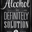Poster joke Alcohol is definitely solution beer and meat — Векторная иллюстрация