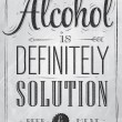Poster joke Alcohol is definitely solution beer and meat — Grafika wektorowa