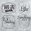 Set signs Wi fi free, smoking area, no smoking, like — Stock Vector