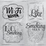 Set signs Wi fi free, smoking area, no smoking, like — Stock Vector #29786673