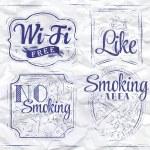 Set signs Wi fi free, smoking area, no smoking, like — Stock Vector #29786677