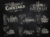Set of cocktail menu in vintage style — Stock Vector