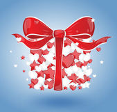 Gift of hearts and stars with a red bow — Stock Vector