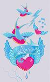 Oiseaux avec coeur — Vecteur