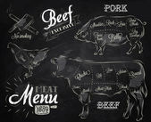 Menu for meat steak cow pig chicken divided into pieces of meat — Stok Vektör