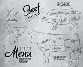 Meat steak cow pig chicken divided into pieces of meat