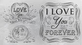 """Chalk design elements on themes """"of love"""" — Stock Vector"""