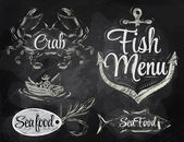 Set collection of seafood and fish menu — Stock Vector