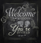 Wedding lettering Welcome to our wedding, you're invited — Vettoriale Stock