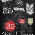 set vino, club del vino, vino rosso, vino bianco, vino vetro — Vettoriale Stock