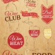 Set of wine, wine club, wine red, wine white, wine glass — Vector de stock