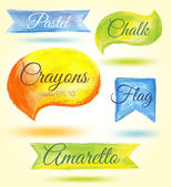 Set watercolor speech bubbles ribbons flags — Stock Vector