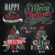 Merry Christmas and New Year lettering collection of Christmas tree — Vector de stock