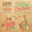 Merry Christmas and New Year lettering collection of Christmas tree  — Stock Vector