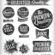 Set of watercolor Old Premium Quality Badges collection — Stok Vektör
