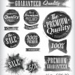 Set of watercolor Old Premium Quality Badges collection — Stock Vector