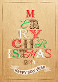Merry Christmas lettering tree from letters stylized for the drawing on kraft paper — Stock Vector