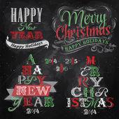 Frohe weihnachten und neujahr schriftzug sammlung von weihnachtsbaum — Stockvektor