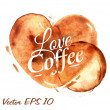 Heart drawn pour coffee — Stok Vektör