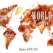 World Map of coffee — Stock Vector