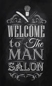 Poster Barbershop welcome to the man salon — Stock Vector