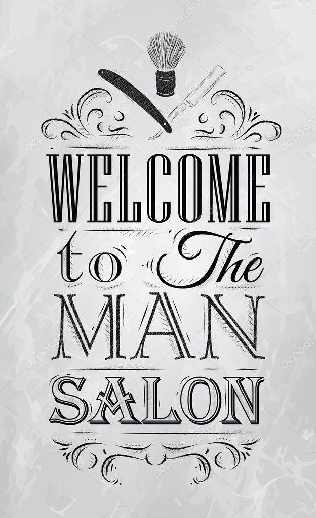 salon de coiffure affiche bienvenue au salon homme image vectorielle anna42f 32894249. Black Bedroom Furniture Sets. Home Design Ideas