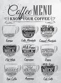 Set of coffee menu — Stock Vector