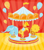 Circus carousel with animals — Stock Vector