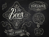 Vintage Elements stylized under a chalk drawing on the theme of beer — Stock Vector
