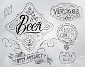 ビールのテーマを図面の下で様式化されたヴィンテージの要素 — ストックベクタ