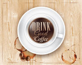 Сoffee cup on wooden texture — Stockvektor