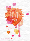 Watercolor Valentines Day Heart lettering Love you — Stock Vector