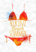 Red orange bikini — Stock Vector
